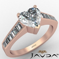 Baguette Channel Basket Set Heart diamond engagement Ring in 14k Rose Gold