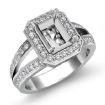 0.6Ct Diamond Engagement Ring Emerald Semi Mount Halo Setting 14k White Gold - javda.com