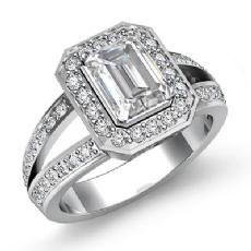 Halo Split Shank Sidestone Emerald diamond engagement Ring in 14k Gold White