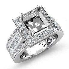 1.25Ct Diamond Engagement Ring 14k White Gold Princess Semi Mount Halo Setting