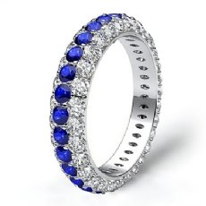 Women Engagement Eternity Ring 14k White Gold Round Pave Sapphire Diamond 2.7Ct