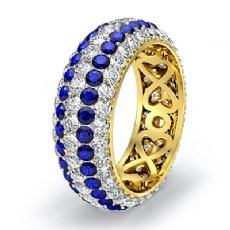 5 Row Eternity Womens Ring Sapphire Diamond Anniversary Band 14k Gold Yellow  (2Ct. tw.)