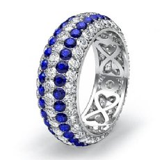 5 Row Eternity Womens Ring Sapphire Diamond Anniversary Band Platinum 950  (2Ct. tw.)