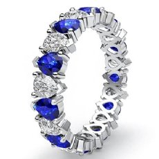 Pear Cut Sapphire Diamond Prong Set Eternity Women Band Ring 14k White Gold 3Ct