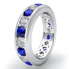 Round Sapphire Diamond Channel Eternity Women's Band Ring 14k White Gold 2.2Ct