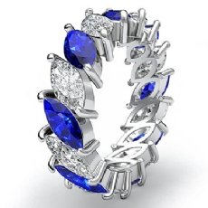Marquise Cut Sapphire Diamond Eternity Women's Band Ring 14k White Gold 5.3Ct