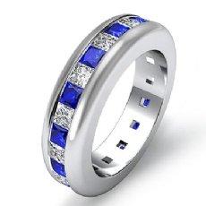 Princess Sapphire Diamond Channel Set Eternity Band Womens Ring 14k WGold 2.5Ct