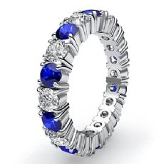 Shared Prong Eternity Ring Sapphire Diamond Women's Band 14k White Gold 2.6Ct