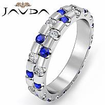 Sapphire Diamond Bezel Set Eternity Womens Wedding Band Ring 14k White Gold 1Ct