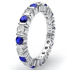 Womens Wedding band Sapphire Diamond Bar Set Eternity Ring 14k White Gold 1.6Ct