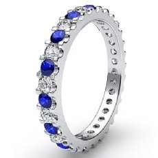 Sapphire Diamond Prong Set Eternity Womens Wedding Band 14k White Gold Ring 1Ct
