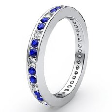 Women's Eternity Sapphire Diamond Engagement Wedding Band 14k W Gold Ring 0.4Ct