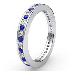 Round Pave Eternity Sapphire Diamond Wedding Women's Band 14k W Gold Ring 0.4Ct