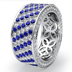 Sapphire Diamond Engagement Ring 14k White Gold 5Row Womens Eternity Band 3.3Ct