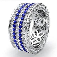 5Row Women Eternity Band Sapphire Diamond Anniversary Ring 14k White Gold 3.3Ct