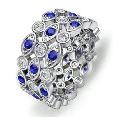 Pave Bezel Sapphire Diamond Womens Eternity Anniversary Band 14k W Gold Ring 1Ct