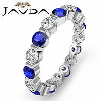 Sapphire Diamond Bar Set Eternity Wedding Women's Band Ring 14k White Gold 2Ct