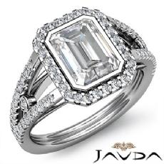 Bezel Halo Prong Setting Emerald diamond engagement Ring in 14k Gold White