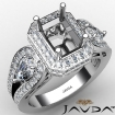 Radiant Diamond Engagement Halo 3Stone Ring Set 14k White Gold Semi Mount 1.85Ct - javda.com