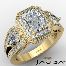 Three Stone Halo Radiant diamond engagement Ring in 18k Gold Yellow