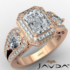 Three Stone Halo Radiant diamond engagement Ring in 18k Rose Gold