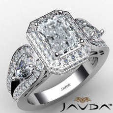 Three Stone Halo Radiant diamond engagement Ring in 14k Gold White
