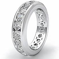 5.25mm Women's Round Diamond Channel Eternity Band Ring 14k White Gold 2.2Ct