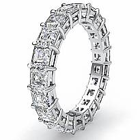 Asscher Cut Diamond Women's Eternity Wedding Band Ring 14k White Gold 3.55Ct