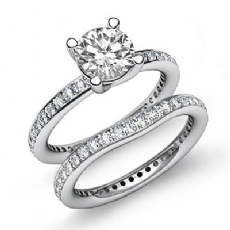 Eternity Pave Bridal Set Round diamond engagement Ring in 14k Gold White