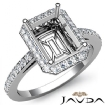 Diamond Engagement Ring Halo Setting 14k White Gold Emerald Semi Mount 0.45Ct - javda.com