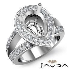 Diamond Engagement 14K White Gold Halo Pave Setting Pear Semi Mount Ring 0.65Ct
