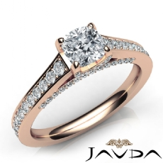 Micro Pave Set Bridge Accent Cushion diamond engagement Ring in 14k Rose Gold