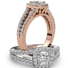 French U Pave Halo Split Shank Cushion diamond engagement Ring in 14k Rose Gold