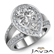 Halo Side Stone Pave Set Pear diamond engagement Ring in 14k Gold White