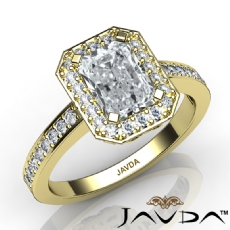 Vintage Filigree Halo Pave Radiant diamond engagement Ring in 18k Gold Yellow