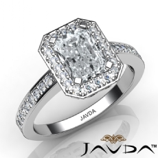 Vintage Filigree Halo Pave Radiant diamond engagement Ring in 14k Gold White