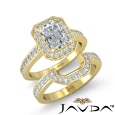 Filigree Halo Pave Bridal Set diamond Ring 14k Gold Yellow