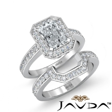 Filigree Halo Pave Bridal Set Radiant diamond engagement Ring in 14k Gold White