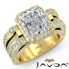 Vintage Design Halo Pave Radiant diamond engagement Ring in 18k Gold Yellow