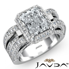 Vintage Design Halo Pave Radiant diamond engagement Ring in 14k Gold White