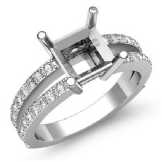 0.50Ct Princess Diamond Split Shank Engagement Ring Setting 14K W Gold SemiMount