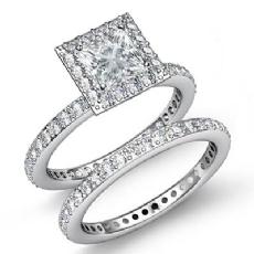 Eternity Halo Bridal Set Princess diamond engagement Ring in 14k Gold White