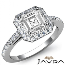 Sidestone Halo Pave Filigree Asscher diamond engagement Ring in 14k Gold White
