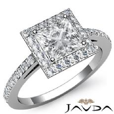 Sidestone Halo Pave Filigree Princess diamond engagement Ring in 14k Gold White
