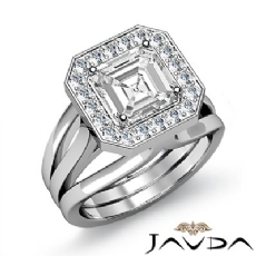 Halo Pave Set Trio Shank Asscher diamond engagement Ring in 14k Gold White