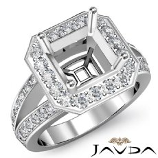 Diamond Engagement Asscher Semi Mount Ring 14K W Gold Halo Pave Setting 0.63Ct