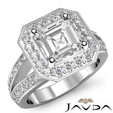 Split Shank Halo Sidestone Asscher diamond engagement Ring in 14k Gold White