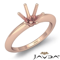 4g Round Diamond 6 Prong Engagement Solitaire Ring Semi Mount 14k Rose Gold Setting