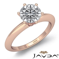 Knife Edge Classic Solitaire Round diamond engagement Ring in 14k Rose Gold