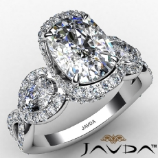 Twisted Shank Three Stone Pave Cushion diamond engagement Ring in 14k Gold White